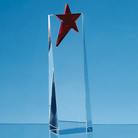 engraved 18cm Red Optical Crystal Award