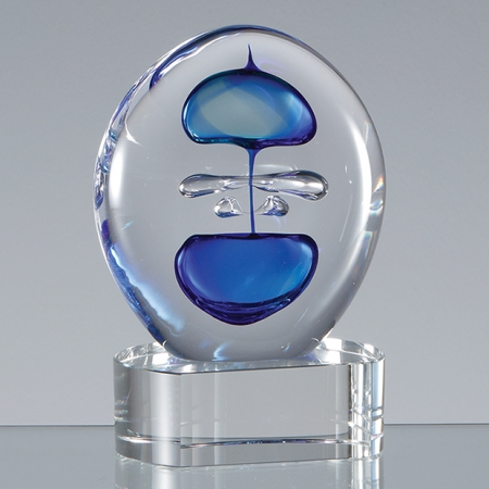 engraved Blue and Teal Round Award