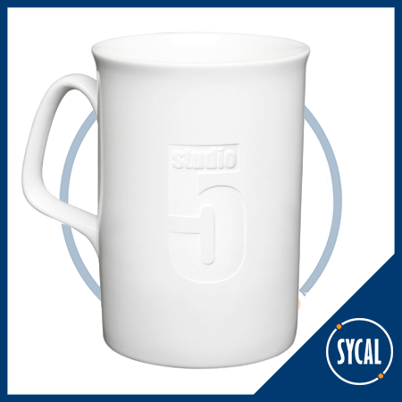 Etched logo bone China mug