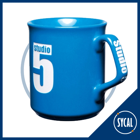 Mug with logo etched on front and handle