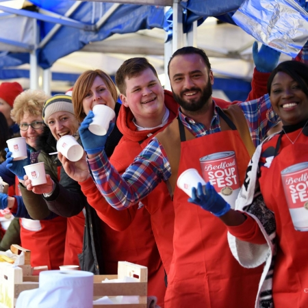 Volunteers at SoupFest 2018 in branded aprons