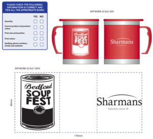 Providing proofs for branded thermal mugs