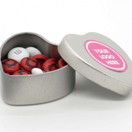 branded Small Heart Silver Tin With M&Ms