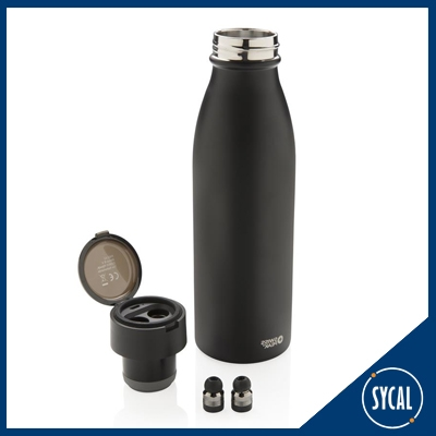 Branded thermal bottle with bluetooth earbuds