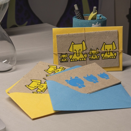 Elephant poo greetings cards