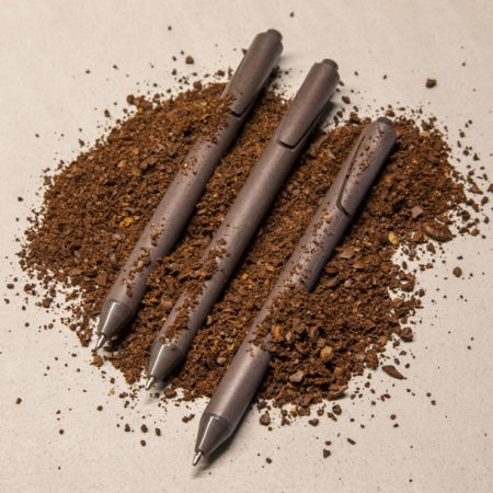 promotional pens made from used coffee grounds