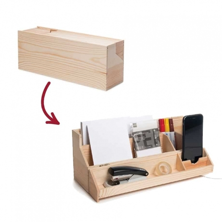 wine box turns into desk organiser