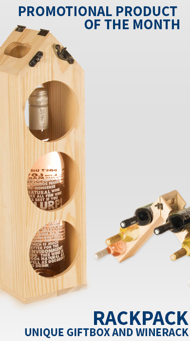 branded wine rack and gift box