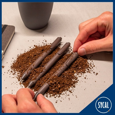 Personalised pens made of recycled coffee