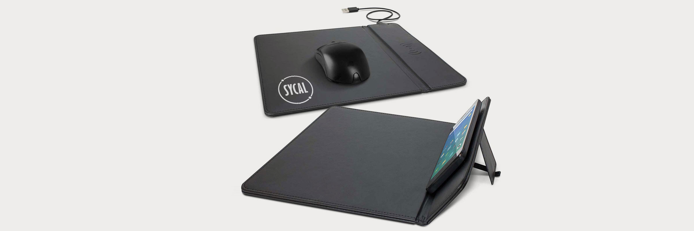 branded mouse mat with wireless charger