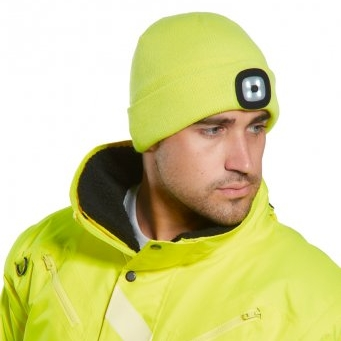 Hi-vis beanie hat with removable LED torch