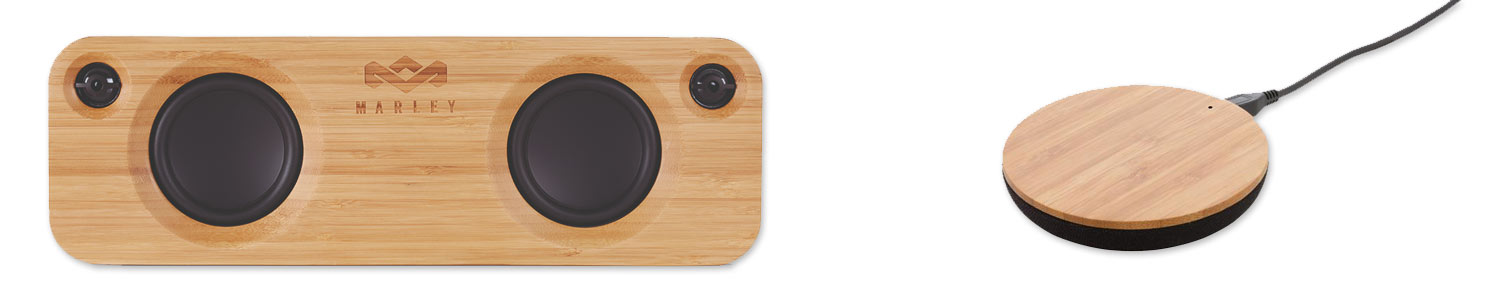 bamboo speakers and bamboo wireless charger