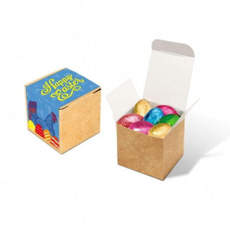 Branded Easter Eco Kraft Cube Chocolate Eggs