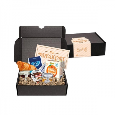 Breakfast postal box with juice and croissant