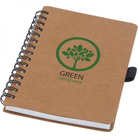 branded A6 recycled cardboard notebook with stone paper