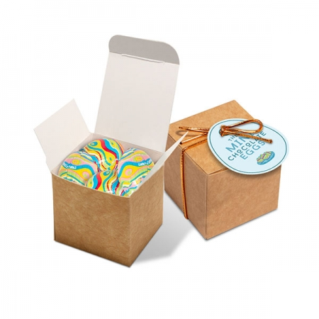 branded Easter Eco Kraft Cube - Mini Chocolate Eggs