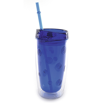Branded drinkware with straw