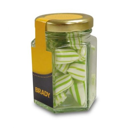 branded hex jar with Colour Matched Humbugs
