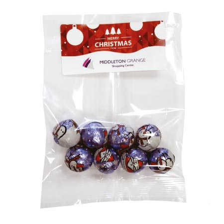 branded Bag of Christmas Chocolate Baubles