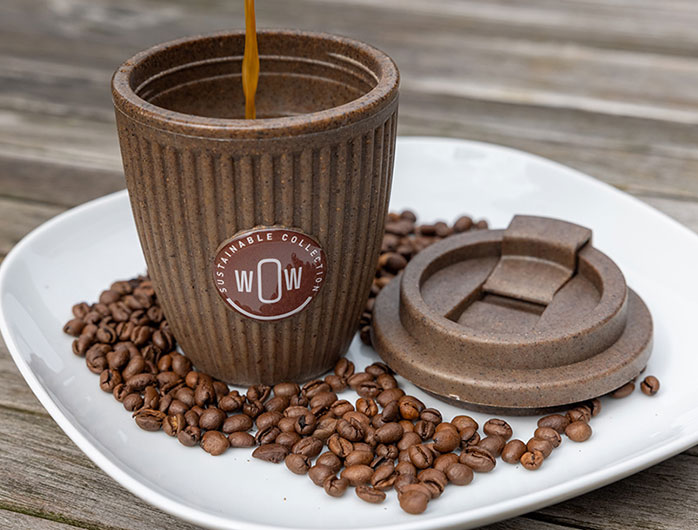 coffee cup made from coffee grounds